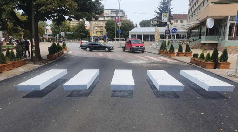 3D пешеходна пътека стряска джигитите в Перник