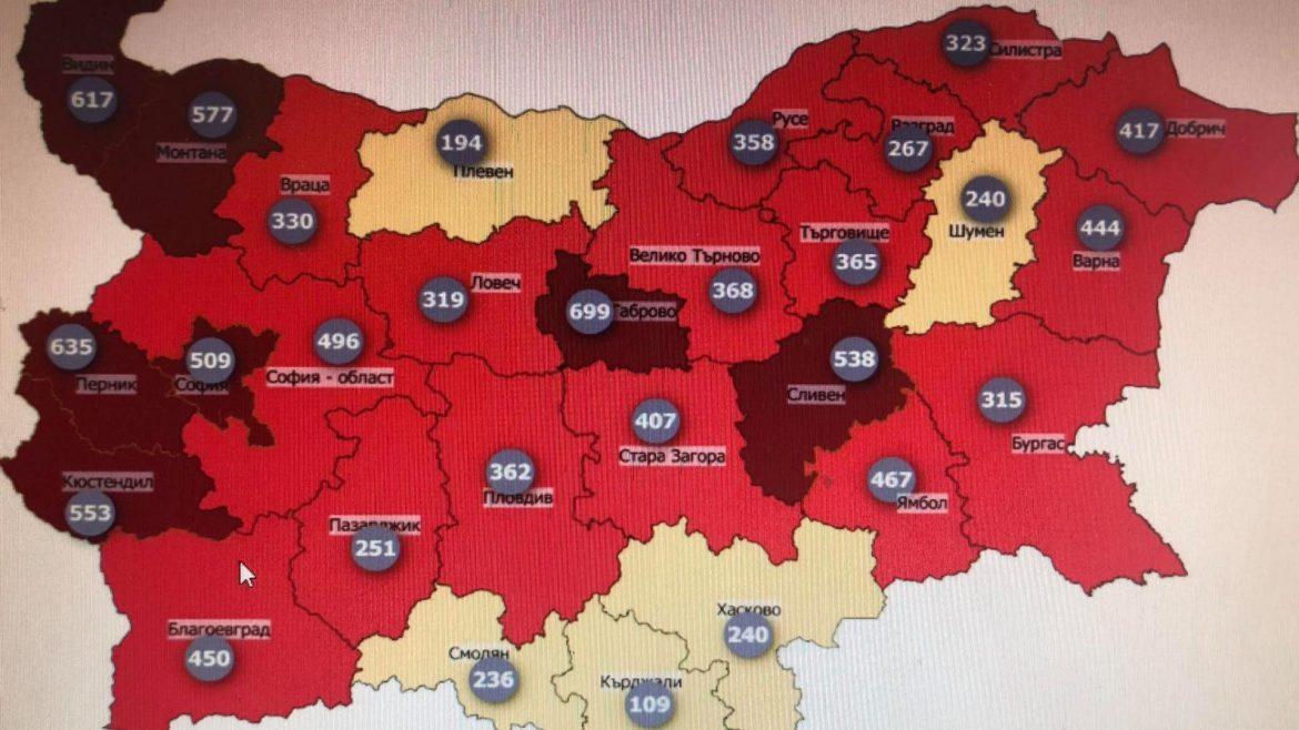 7 области светнаха в тъмночервено на COVID картата